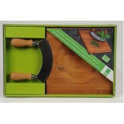 Kruidensnijplank& mes bamboe