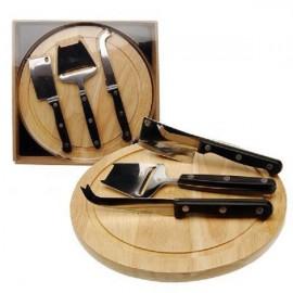 Kaasplank hout diam. 25cm met 3 acc.